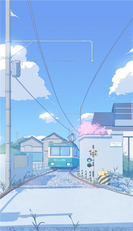 音乐资讯_蓝色日系街道小清新手机壁纸图片大全_2020日系电车风景二次元 ...
